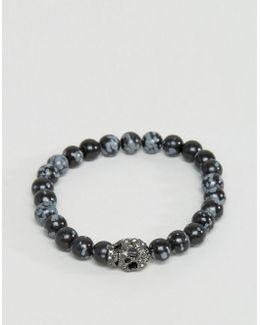 Swarovski Skul Bracelet In Snowflake Obsidian