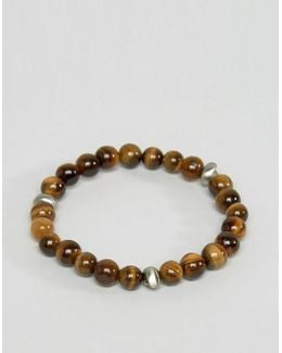 Skull Beaded Bracelet In Tigerseye