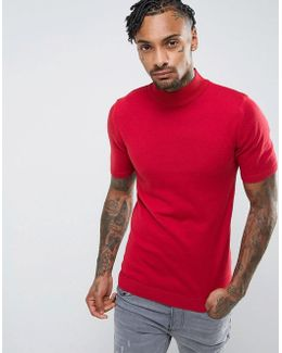 Turtle Neck T-shirt In Muscle Fit In Red