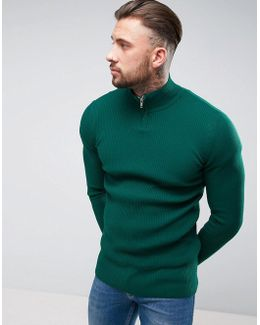 Longline Half Zip Ribbed Jumper In Green