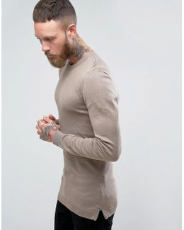 Muscle Fit Longline Jumper With Side Zips In Oatmeal