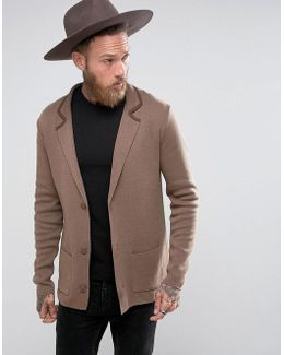 Slim Fit Knitted Blazer In Light Brown