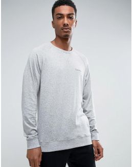 Long Sleeve Sweat Top In Grey Marl