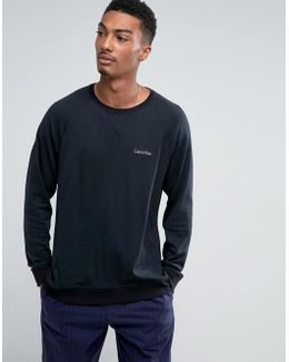 Long Sleeve Sweat Top In Black