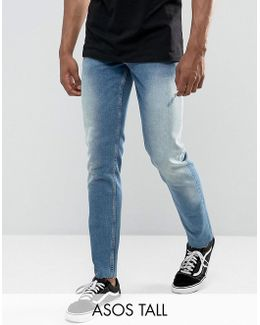 Tall Slim Jeans In Vintage Mid Wash With Abrasions