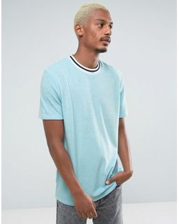 Longline T-shirt In Towelling With Contrast Neck In Blue