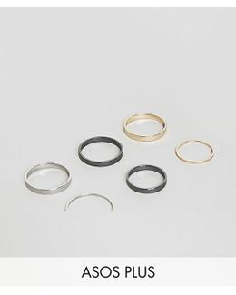 Plus Midi Ring Pack In Mixed Finish