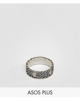 Plus Ring In Silver With Celtic Design
