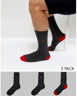 Socks In 3 Pack With Polka Dot