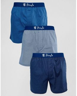 Woven Boxer 3 Pack With Spot Print
