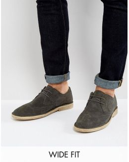 Derby Shoes In Grey Suede With Brogue Detailing