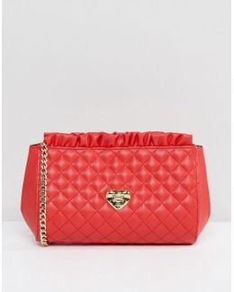 Ruffle Top Quilted Shoulder Bag