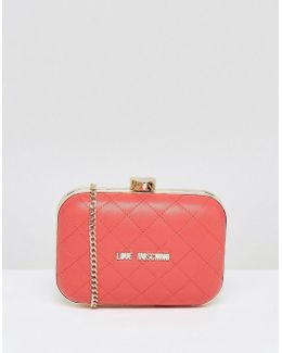 Structured Quilted Clutch With Strap