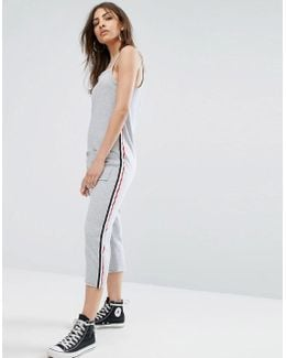 Relaxed Cami Jumpsuit With Sports Stripe