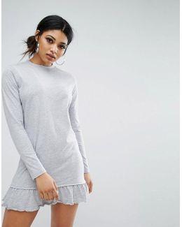 Long Sleeve Smock Dress With Ruffle Trim