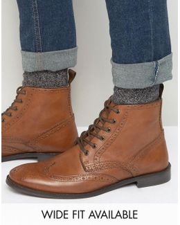 Wide Fit Brogue Boots In Tan Leather