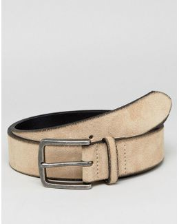 Wide Suede Belt In Tan With Burnished Edges
