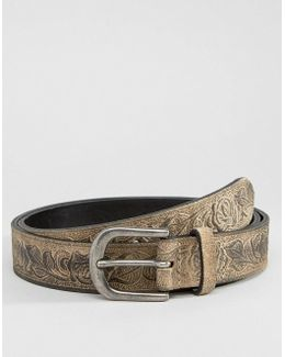 Slim Suede Belt In Stone With Floral Emboss