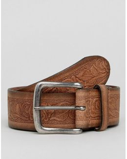 Wide Leather Belt With Floral Emboss & Burnished Edges
