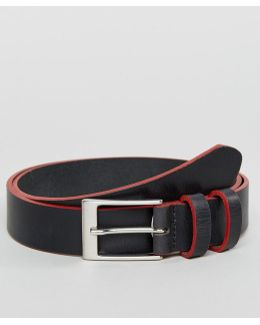Smart Slim Leather Belt With Contrast Painted Edges
