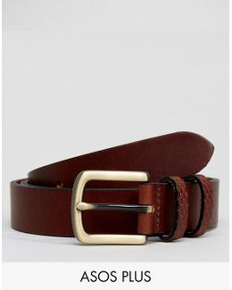 Plus Smart Slim Leather Belt With Embossed Keepers