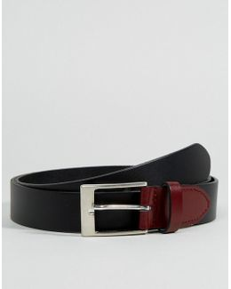 Smart Leather Slim Belt With Contrast Keeper