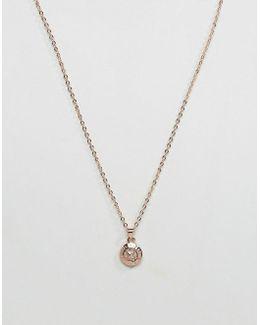 Elvina Enamel Silver Glitter Mini Button Pendant Necklace