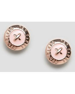 Baby Pink Enamel Mini Button Earrings