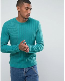 Mixed Rib Textured Jumper In Green