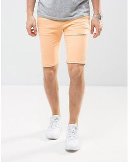 Denim Shorts In Super Skinny Orange With Thigh Rip