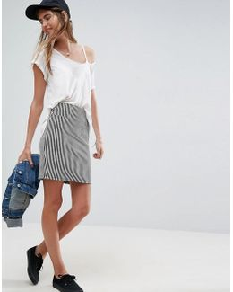 High Waist Mini Skirt In Stripe