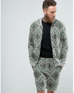 Knitted Bomber Jacket With Tapestry Design