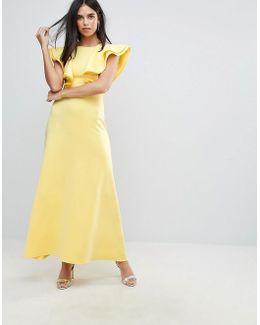 Scuba Maxi Dress With Ruffle Detail