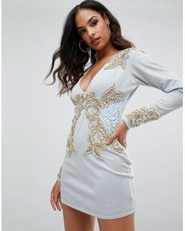 Long Sleeve Heavily Embellished Dress With V Front