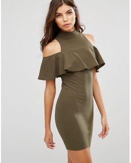 Cold Shoulder High Neck Mini Dress With Ruffled Detail