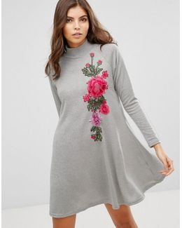 High Neck Knitted Swing Dress With Embroidery Detail