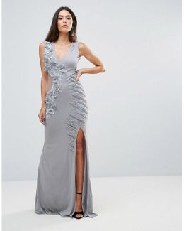Embellished Maxi Dress With Cut Out Sides