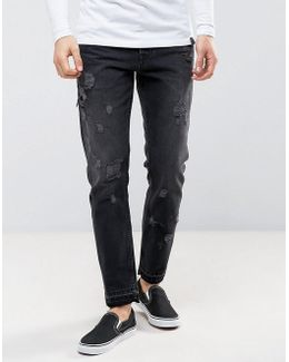 Slim Ankle Grazer Jeans In Washed Black With Distressing And Drawcord