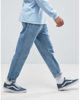 Double Pleated Jeans In Mid Wash Blue