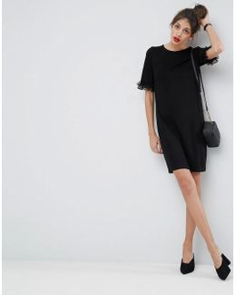 T-shirt Dress In Ponte With Lace Frill Sleeve