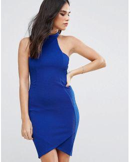 Halterneck Crepe Midi Dress