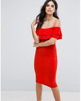 Bardot Frill Overlay Midi Dress