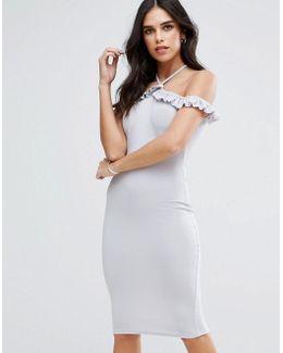 Cold Shoulder Frill Detail Midi Dress