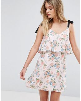 Tie Shoulder Floral Dress