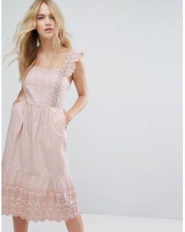 Broderie Detail Midi Dress
