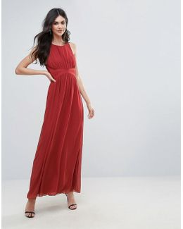 Bcbg Drapey Evening Coral Maxi Dress