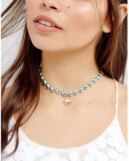 Mermaid Shell Charm Choker Necklace