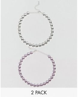 Pack Of 2 Metallic Circle Choker Necklaces