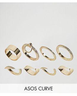 Pack Of 8 Sleek Hoop Ring Pack