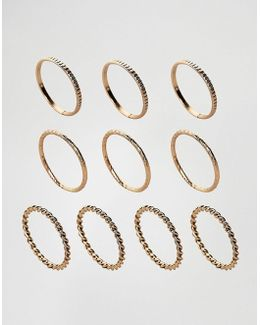 Pack Of 10 Twist And Engraved Ring Pack